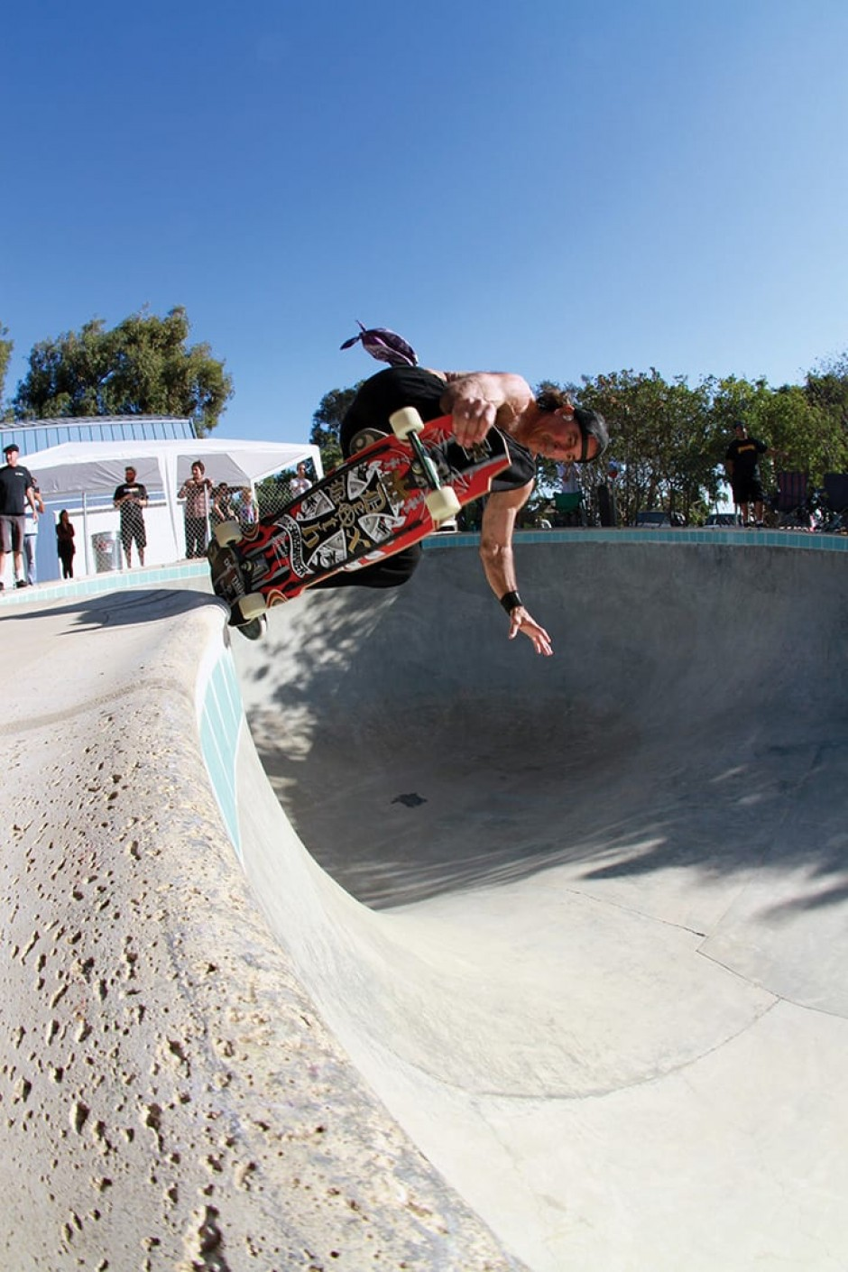 David Hackett whips a backside tail block attack, deep in the heart of Malibu at the N-Men Reunion 2015. Photo by Dan Levy