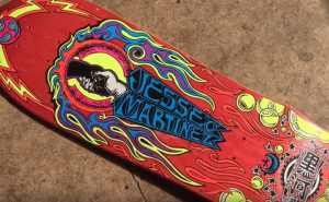 Doug Smith Artwork on Jesse Martinez World Industries skateboard