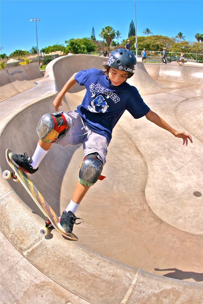Fronside Over Crook at West Maui Skatepark | Photo: MJR