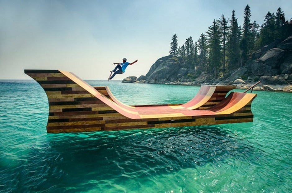 Colossal Skateboard Ramp Floats Gracefully on Lake Tahoe