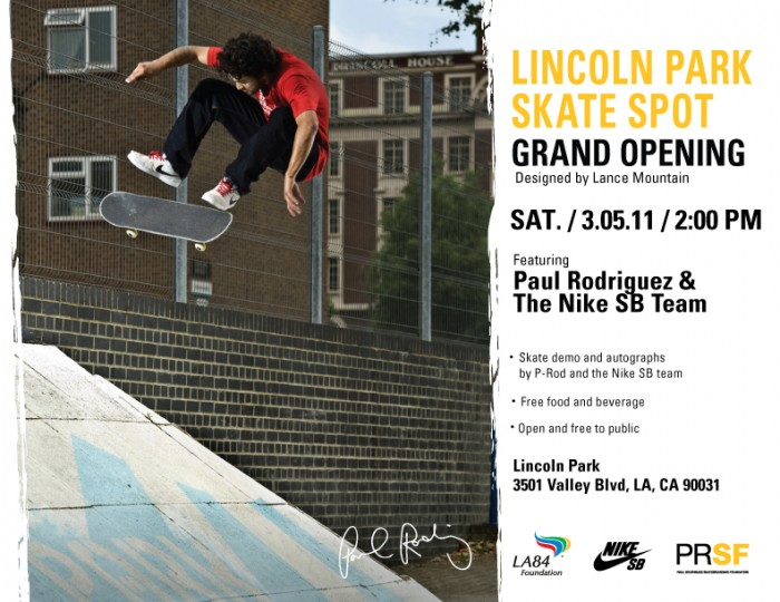Lincoln Park Skate Spot Grand Opening March 5