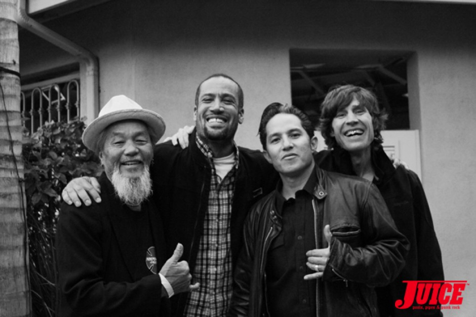 Ivan Hosoi, Ben Harper, Christian Hosoi and Rodney Mullen. Photo by Dan Levy.