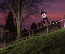 SKYLINE SCREAMS SABBATH, RAIL SCREAMS DUFFY, TREY SCREAMS THROUGH A FRONTSIDE 50-50.PHOTO BY ETHAN WALSH