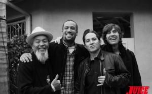 Ivan Hosoi, Ben Harper, Christian Hosoi and Rodney Mullen. Photo by Dan Levy.