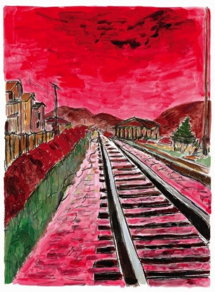 ©BobDylan.Train Tracks,2014. 28 x 36 in.