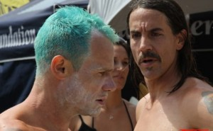 What's on the other side of Flea's face?