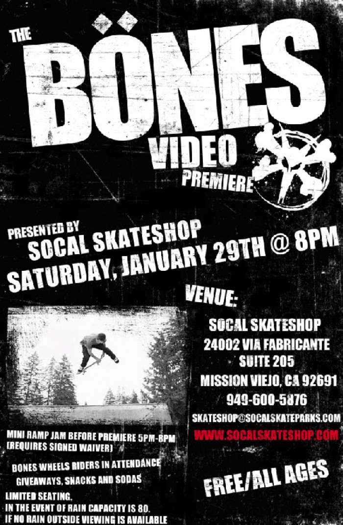 So Cal Skateshop Premieres the Bones Wheels Video