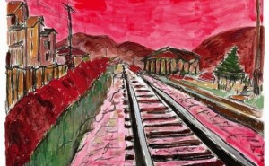 © Bob Dylan. Train Tracks, 2014. 28 x 36 in.